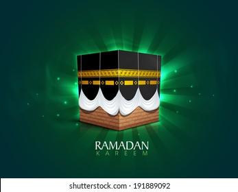 Qaba Sharif on shiny green rays background, poster, banner or flyer design for holy month of muslim community Ramadan Kareem.