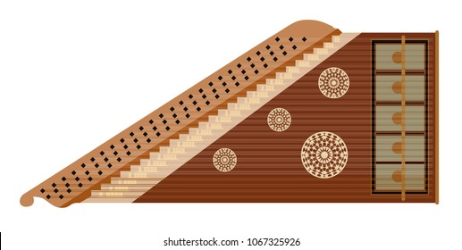 Qanun or Kanun Illustration, Traditional Middle-eastern Oriental Musical Instrument - Vector, Icon Isolated