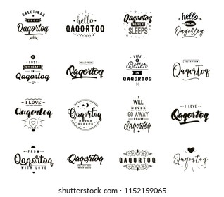 Qaqortoq. Greeting cards, vector design. Isolated logos. Typography set.