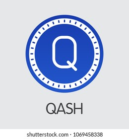 Qash Vector Coin Symbol for Internet Money. Blockchain Cryptocurrency Logo of QASH and Coin Illustration for using in Web Projects or Mobile Applications.
