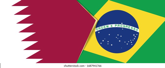 Qatar and Brazil flags, two vector flags symbol of relationship or confrontation.