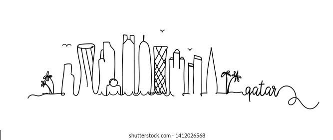 Qatar City Skyline Doodle Sign
