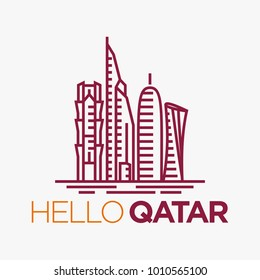 Qatar City Tower logo design inspiration, Qatar tower vector isolated on white background