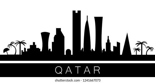 Qatar detailed skyline. Vector postcard illustration