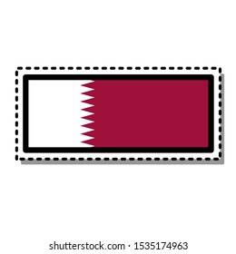 Qatar, Doha flag sticker on white background. Vintage vector badge. Template design element. Travel sign. Symbol of Independence Day, souvenir sport game, button language, icon.