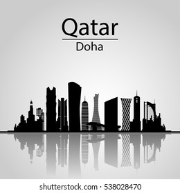Qatar, Doha Skyline. With Silhouette of the City, Modern Architectural Buildings
