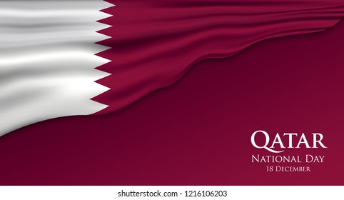 Qatar Flag 3D Vector illustration.