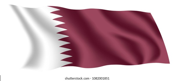 Qatar flag. Isolated national flag of Qatar. Waving flag of the State of Qatar. Fluttering textile qatari flag.
