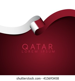Qatar Flag Ribbon : Vector Illustration