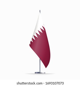 Qatar flag state symbol isolated on background national banner. Greeting card National Independence Day of the state of Qatar. Illustration banner with realistic state flag.