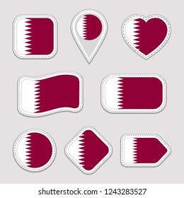 Qatar flag stickers set. Qatari national symbols badges. Isolated geometric icons. Vector official flags collection. Sport pages, patriotic, travel, school, design elements. Different shapes