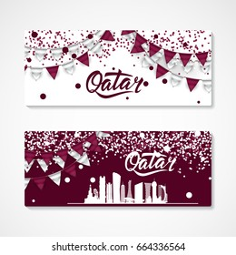 Qatar Illustration of set of banners with Flags, Confetti, Map With national flag colors Ballons and Bantings, with Confetti. Great template for invitations, flyear, banner, sale