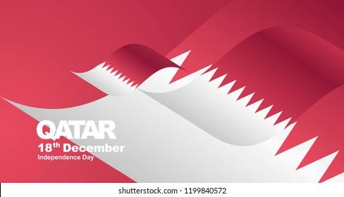 Qatar Independence Day flag ribbon landscape background