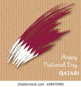 Qatar Independence Day Patriotic Design. Expressive Brush Stroke in National Flag Colors on kraft paper background. Vector Greeting Card.