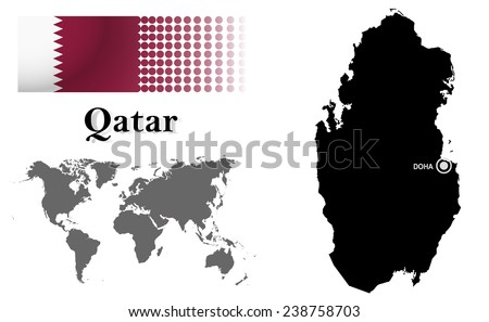 Where Qatar Is Located In World Map.Qatar Info Graphic Flag Location World Stock Vector Royalty Free