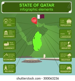 Qatar infographics, statistical data, sights. Fort Umm Salal Mohammed.  Vector illustration