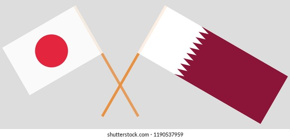 Qatar and Japan. The Qatari and Japanese flags. Official colors. Correct proportion. Vector illustration