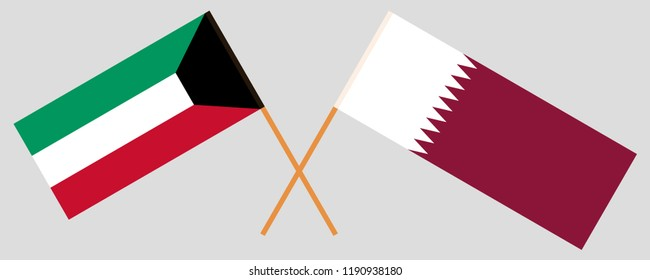 Qatar and Kuwait. The Qatari and Kuwaiti flags. Official colors. Correct proportion. Vector illustration