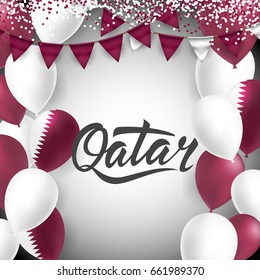 Qatar Lettering. With national flag colors Balloons and Bantings, with Confetti