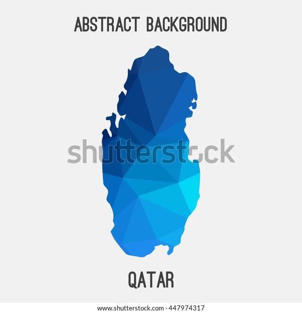 Qatar map in geometric polygonal,mosaic style.Abstract tessellation,modern design background. Vector illustration EPS8