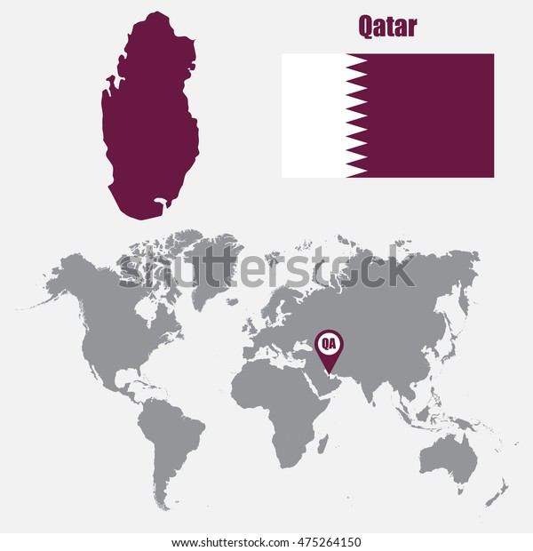Qatar Map On World Map Flag Stock Vector (Royalty Free ... on world map uae, world map in bangladesh, world map in norway, world map in chile, world map in nigeria, world map in china, world map kuwait, world map in arabic, world map in sri lanka, world map iraq, world map in france, world map in austria, world map jordan, world map in russia, world map in england, world map bahrain, world map in vietnam, world map doha, world map in english, world map in french,