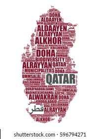 Qatar map silhouette vector tag cloud