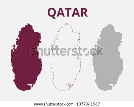Qatar Map Vector Stock Vector (Royalty Free) 1077061967 - Shutterstock