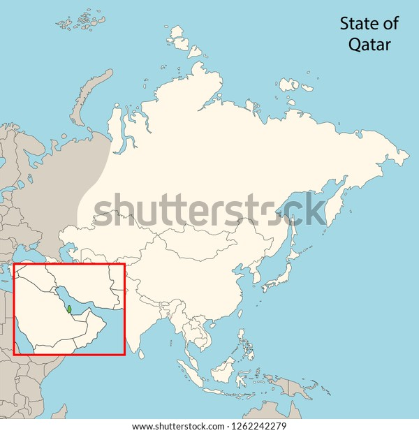 Qatar Map Whole Asia Map Stock Vector (Royalty Free) 1262242279 on