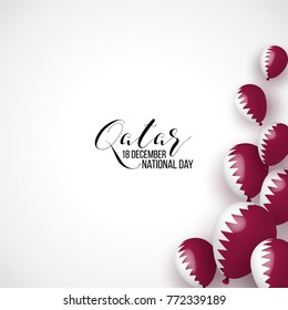 Qatar National day 18 december background with balloons, flag, ribbon. Maroon, white. Template design layout for card, banner, poster, flyer, card. Independence day.