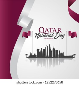 Qatar national day celebration with landmark and flag in Arabic translation: qatar national day 18 th december. vector illustration