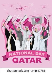 Qatar National Day, Crowd Carrying Qatari Flags (Vector Art)