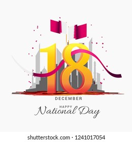 Qatar National Day Poster Or Banner Background.