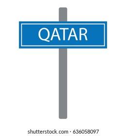 Qatar road sign blue vector illustration table