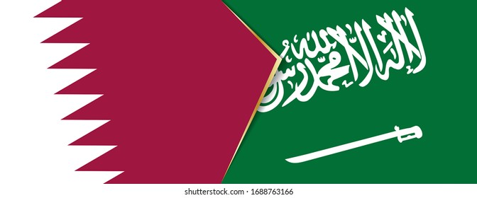 Qatar and Saudi Arabia flags, two vector flags symbol of relationship or confrontation.