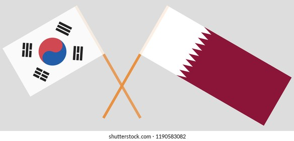 Qatar and South Korea. The Qatari and Korean flags. Official colors. Correct proportion. Vector illustration