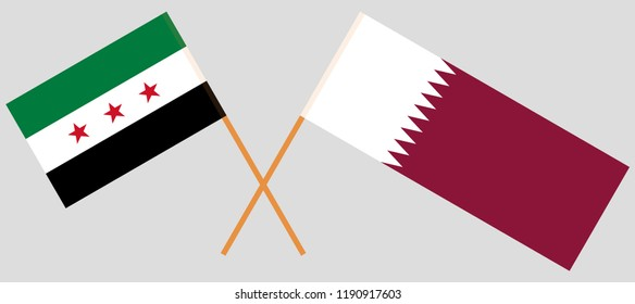Qatar and Syria. The Qatari and Syrian National Coalition flags. Official colors. Correct proportion. Vector illustration