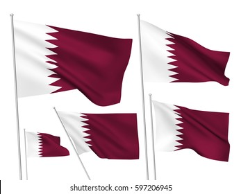 Qatar vector flags set. 5 wavy 3D cloth pennants fluttering on the wind. EPS 8 created using gradient meshes isolated on white background. Five fabric flagstaff design elements from world collection