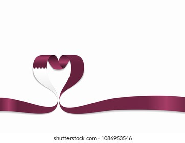 Qatari flag heart-shaped wavy ribbon. Vector illustration.