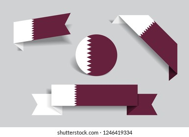 Qatari flag stickers and labels set. Vector illustration.
