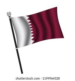 Qatari flag , flag of Qatari waving on flag pole, vector illustration EPS 10.
