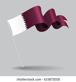 Qatari pin icon wavy flag. Vector illustration.