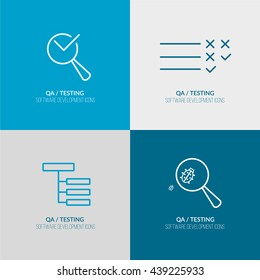 QA-Testing for Software Development process web icon set for agile and scrum IT teams