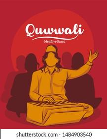 Qawwali devotional music of Sufi Islamic vector illustration.