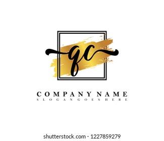 QC Initial handwriting logo concept