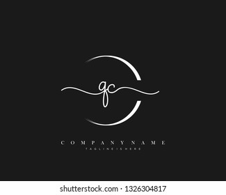 QC initial handwriting logo template vector