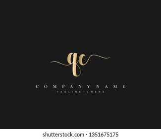 QC initial handwriting logo template with luxury color vector.