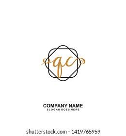 QC Initial handwriting logo vector