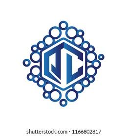 QC Initial letter hexagonal logo vector