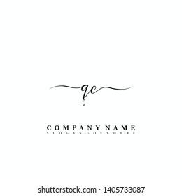 QC Initial luxury handwriting logo vector