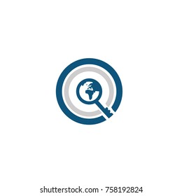 Qc logo global flat vector template